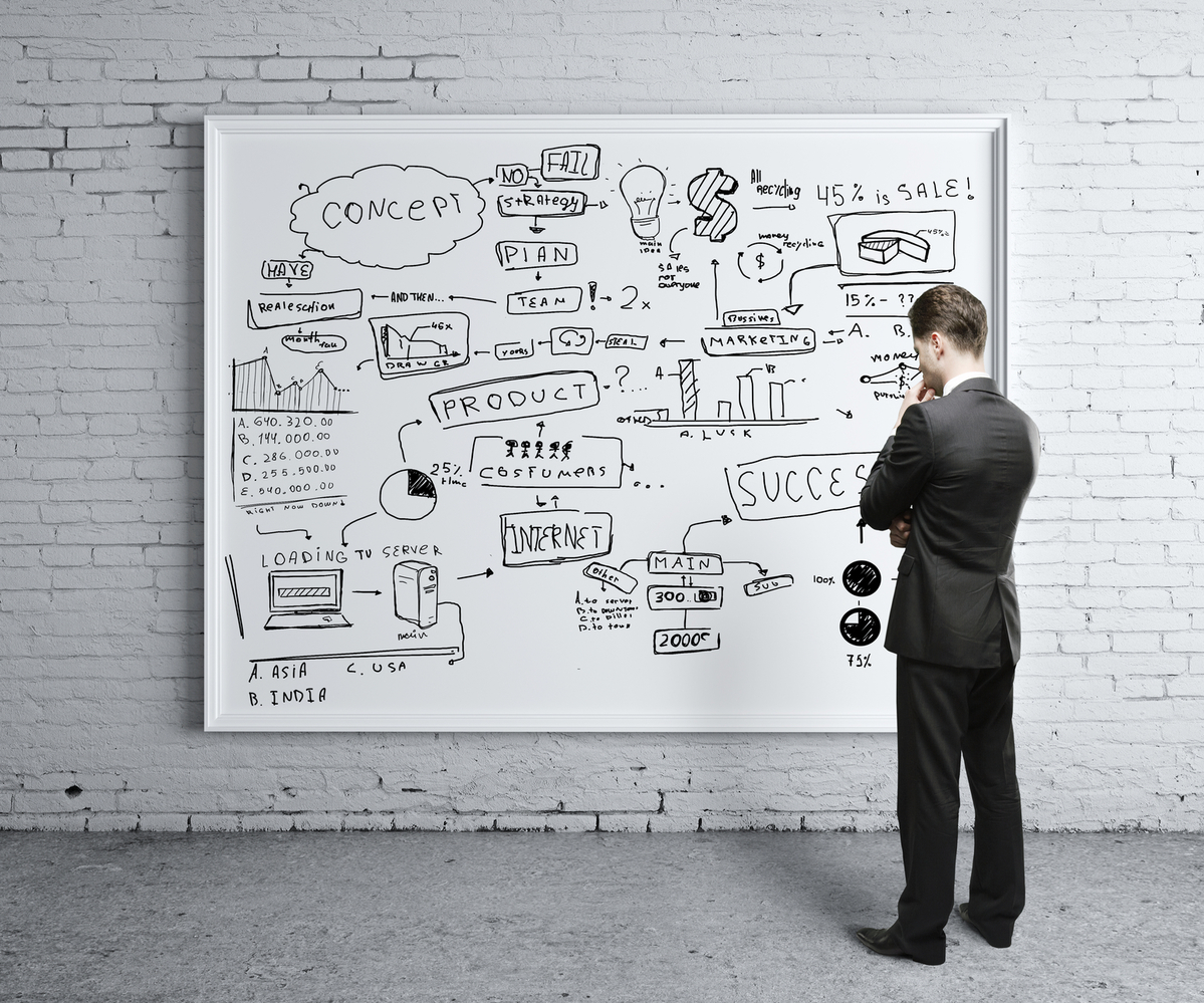 Homem olhando para um quadro estratégico, representando como fazer uma empresa sobreviver
