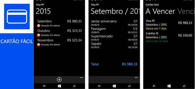 Foto da tela de um celular com o aplicativo Cartão Fácil aberto