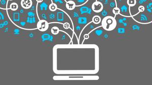 Vetor de um computador, representando as ferramentas de marketing digital