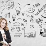 Mulher em frente a uma parede com desenhos relacionados a empreender, representando como abrir empresa - Abertura Simples