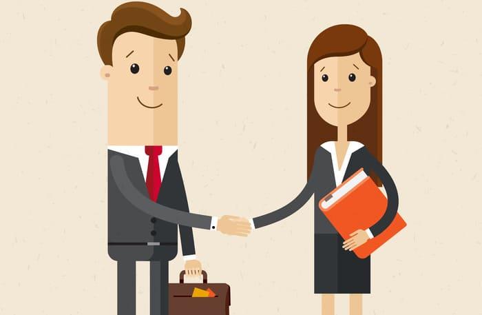 Desenho de um homem e uma mulher apertando as mãos, representando alvará de funcionamento - Abertura Simples