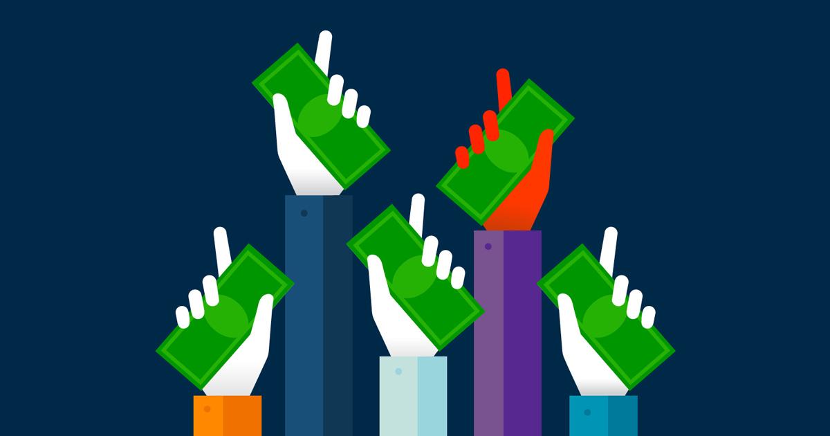 Ilustração de diversas mãos segurando dinheiro para cima, representando o financiamento coletivo do Crowdfunding