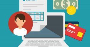 Vetor de um computador, cartões de crédito, Nota Fiscal de Serviços Eletrônica e algum dinheiro, representando a emissão da NFS-e