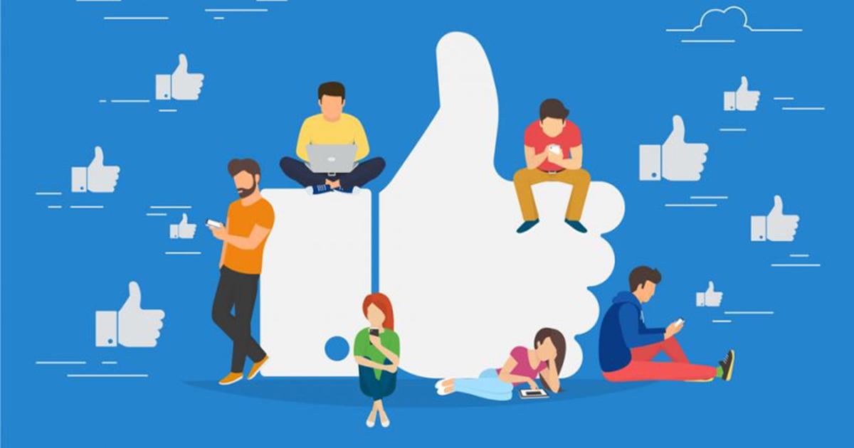 Ilustração de pessoas utilizando as redes sociais para curtir, representando o sucesso da página no Facebook