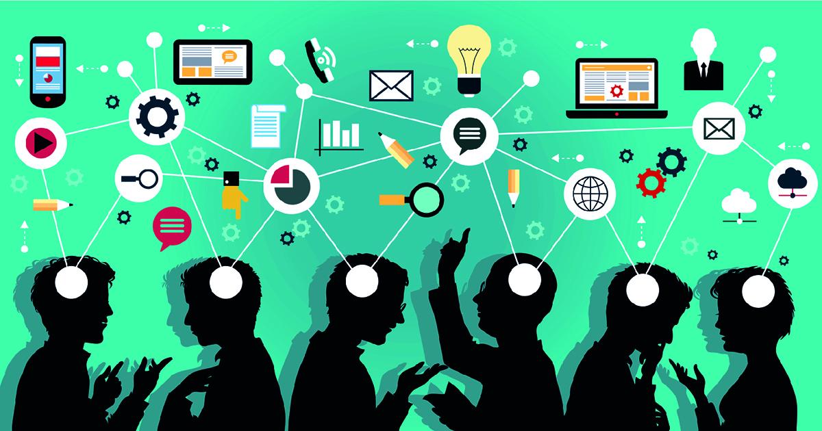 Ilustração de uma rede e muitas pessoas conectadas, representando as tendências em marketing digital