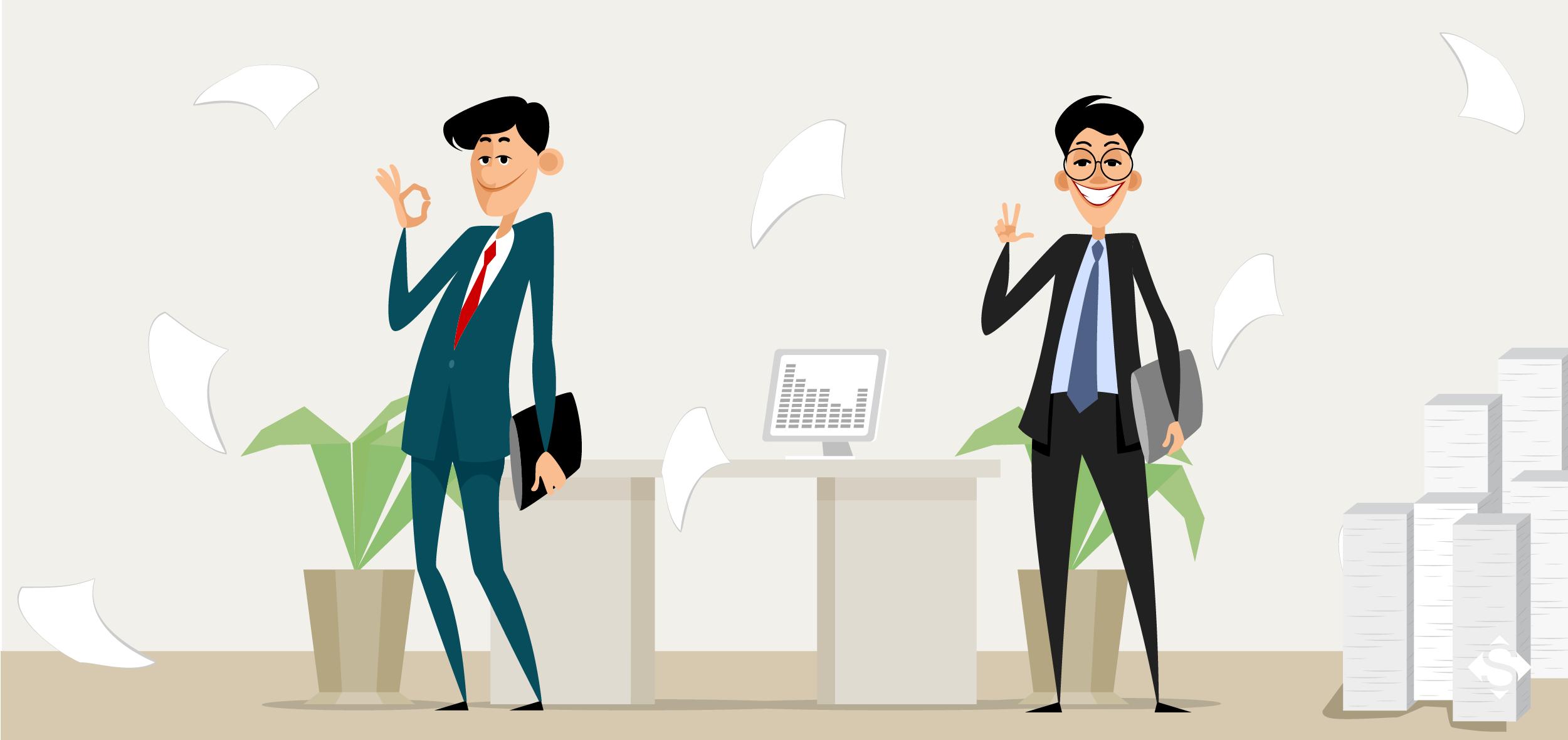 ilustração de dois homens, com suas licenças necessárias para abrir empresa