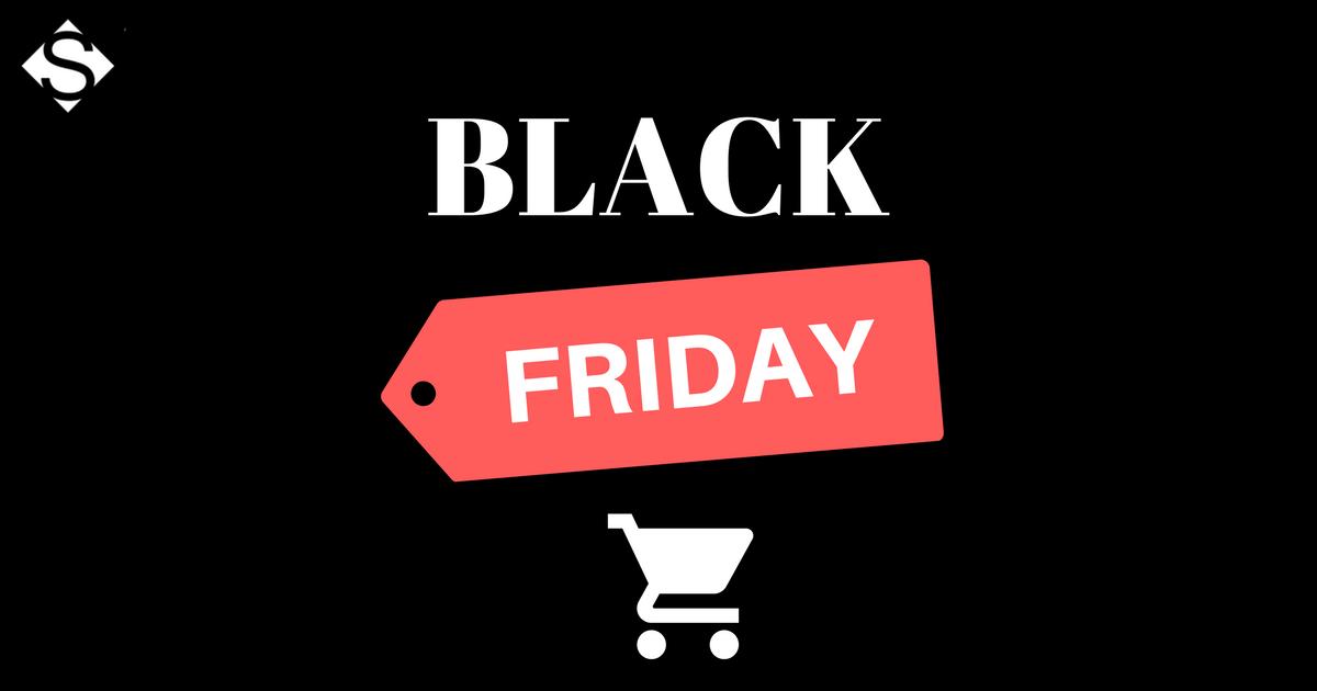 Montagem com fundo preto e o escrito Black Friday, para preparar as lojas para essa data