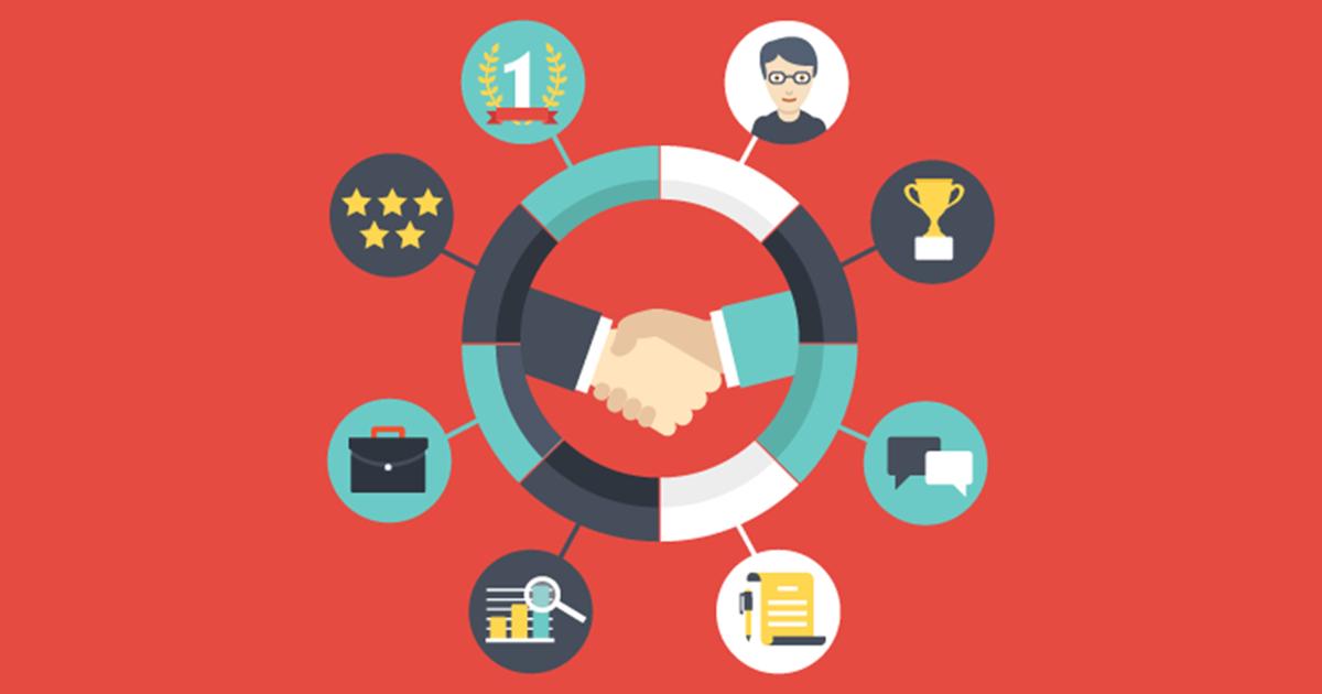 Ilustração de pessoas apertando as mãos, representando as dicas para fidelizar seus clientes