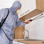 Foto de um homem dedetizando uma cozinha, representando como abrir uma dedetizadora