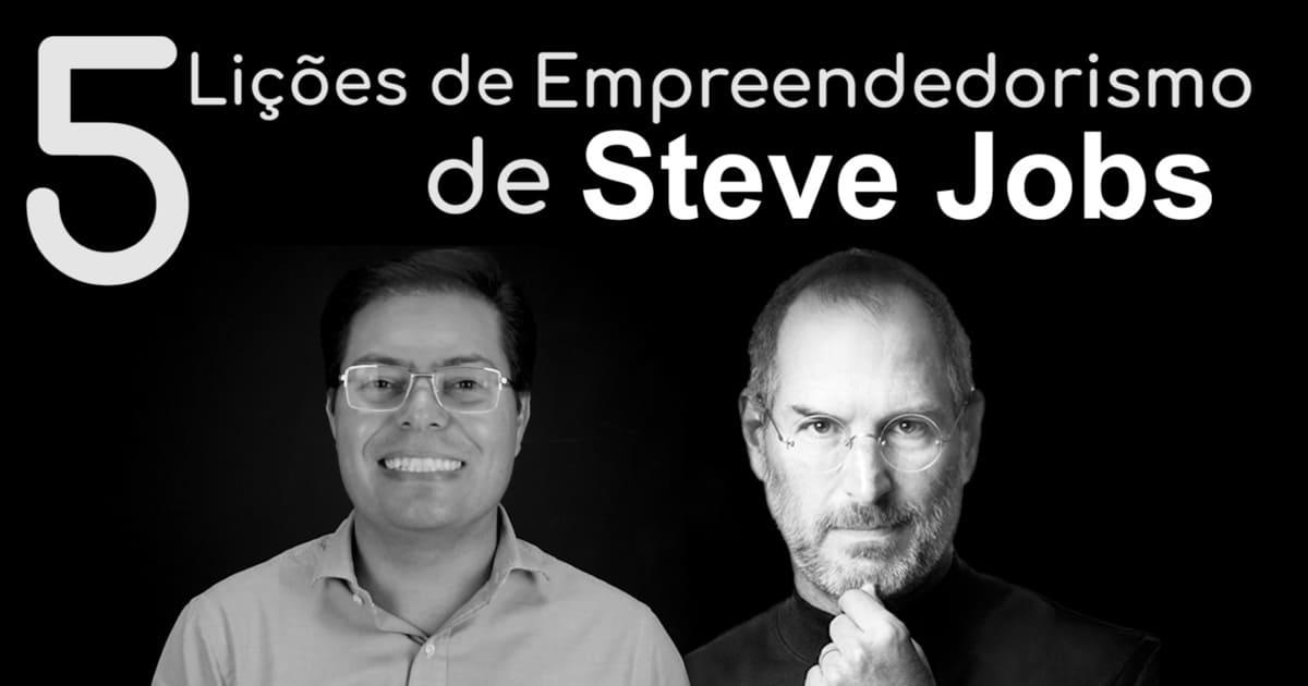 Foto de Rogério Fameli ao lado de Steve Jobs, representando as cinco lições de Steve Jobs