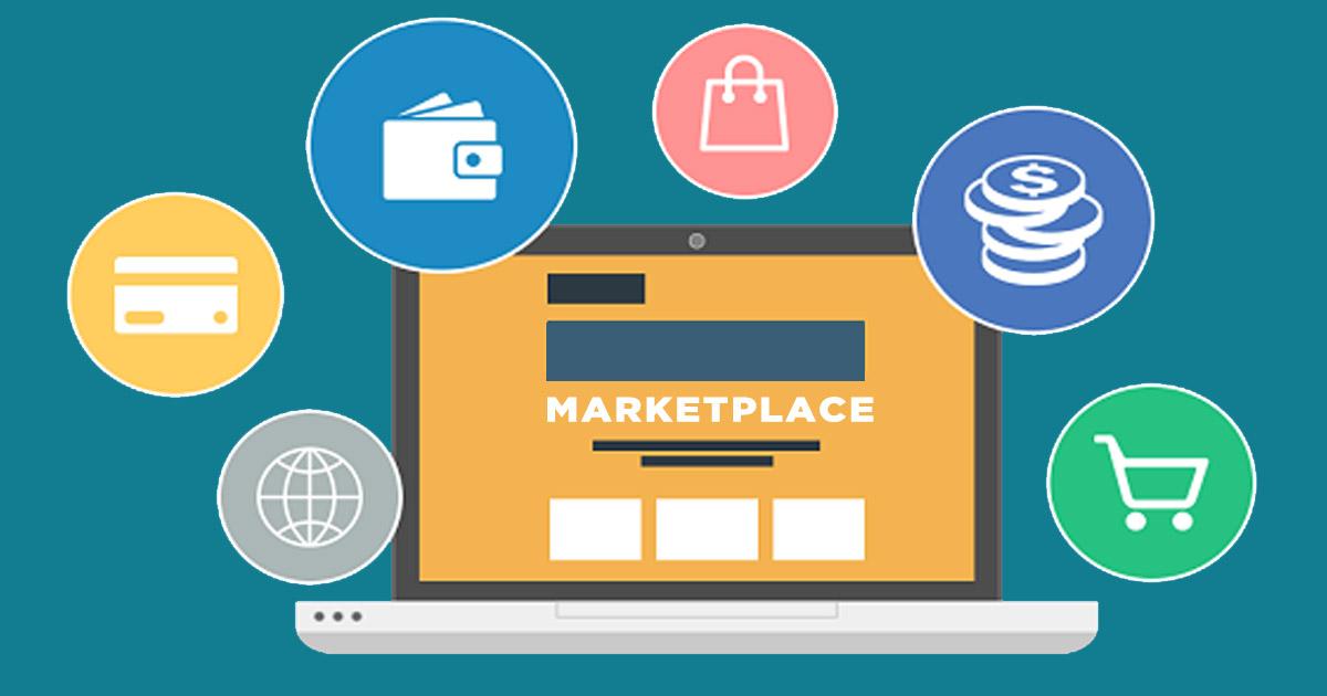 Ilustração de um notebook representando o marketplace
