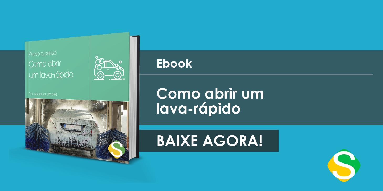 Imagem de um banner de um e-book de guia completo sobre como abrir um lava rápido