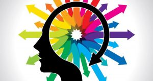 Ilustração de uma cabeça com muitas cores, representando a psicologia das cores