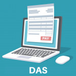 Ilustração de um computador com um papel a frente, representando o DAS
