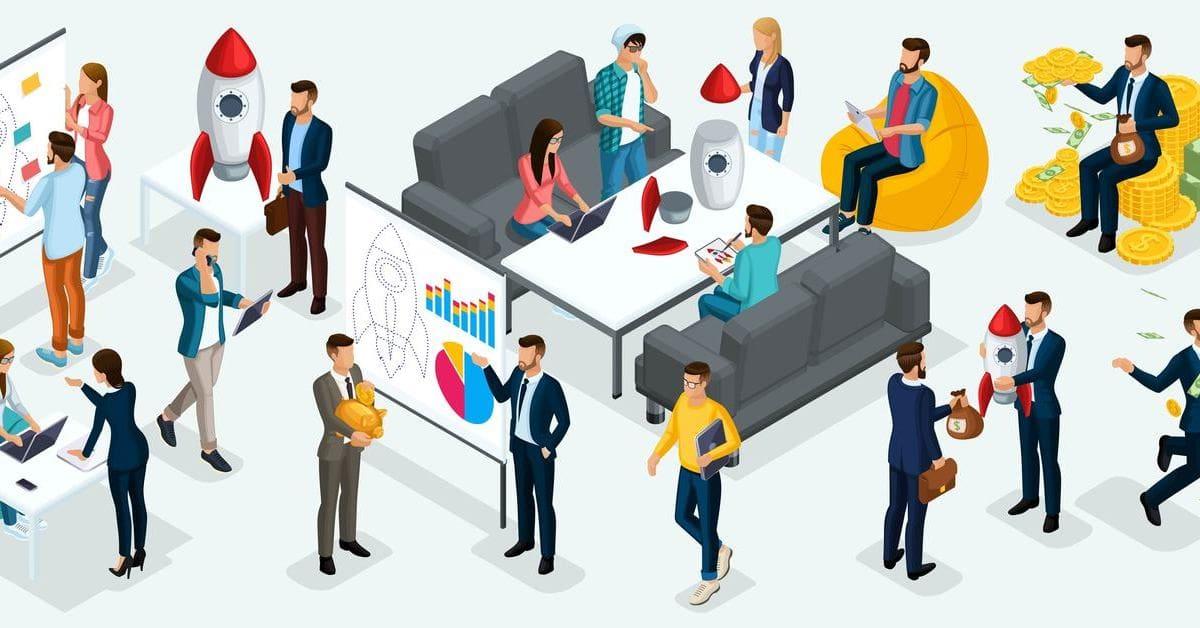 ilustração de várias pessoas em uma sala, representando como abrir uma startup