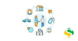 ilustração de uma economia colaborativa