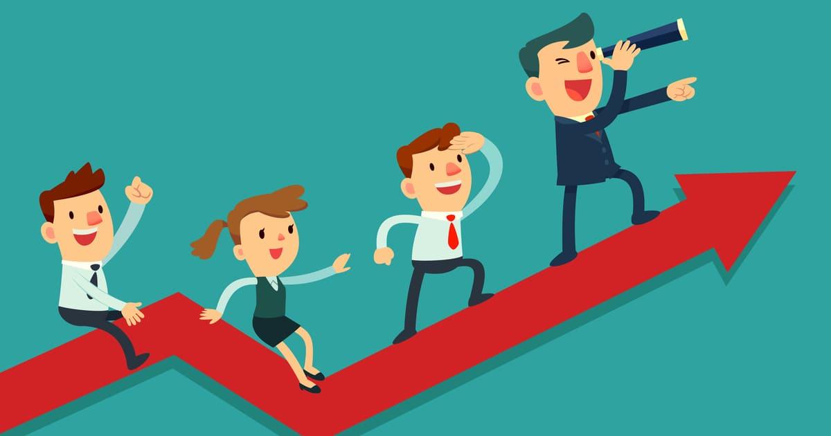 ilustração de algumas pessoas, representando o funcionário satisfeito