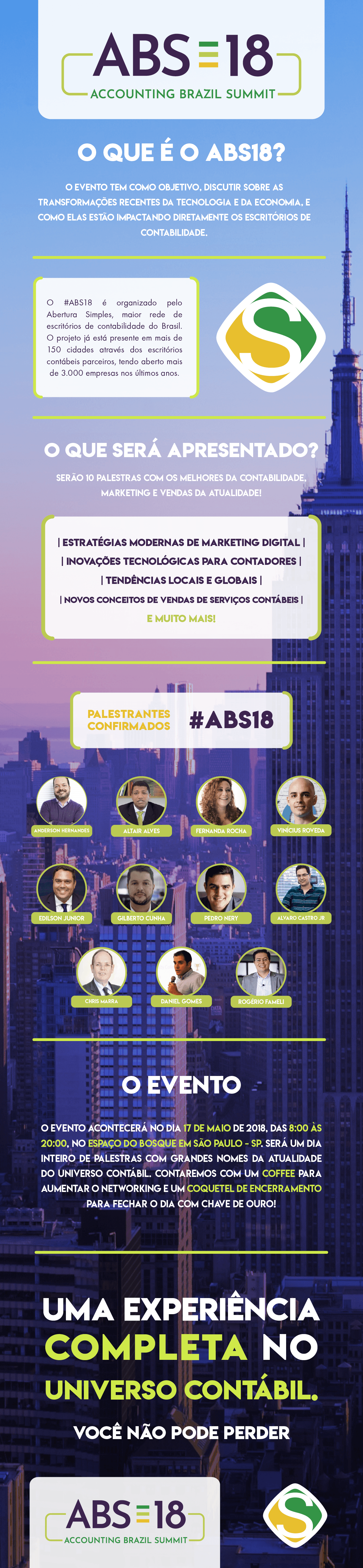 Infografico do evento ABS18 - Accounting Brazil Summit