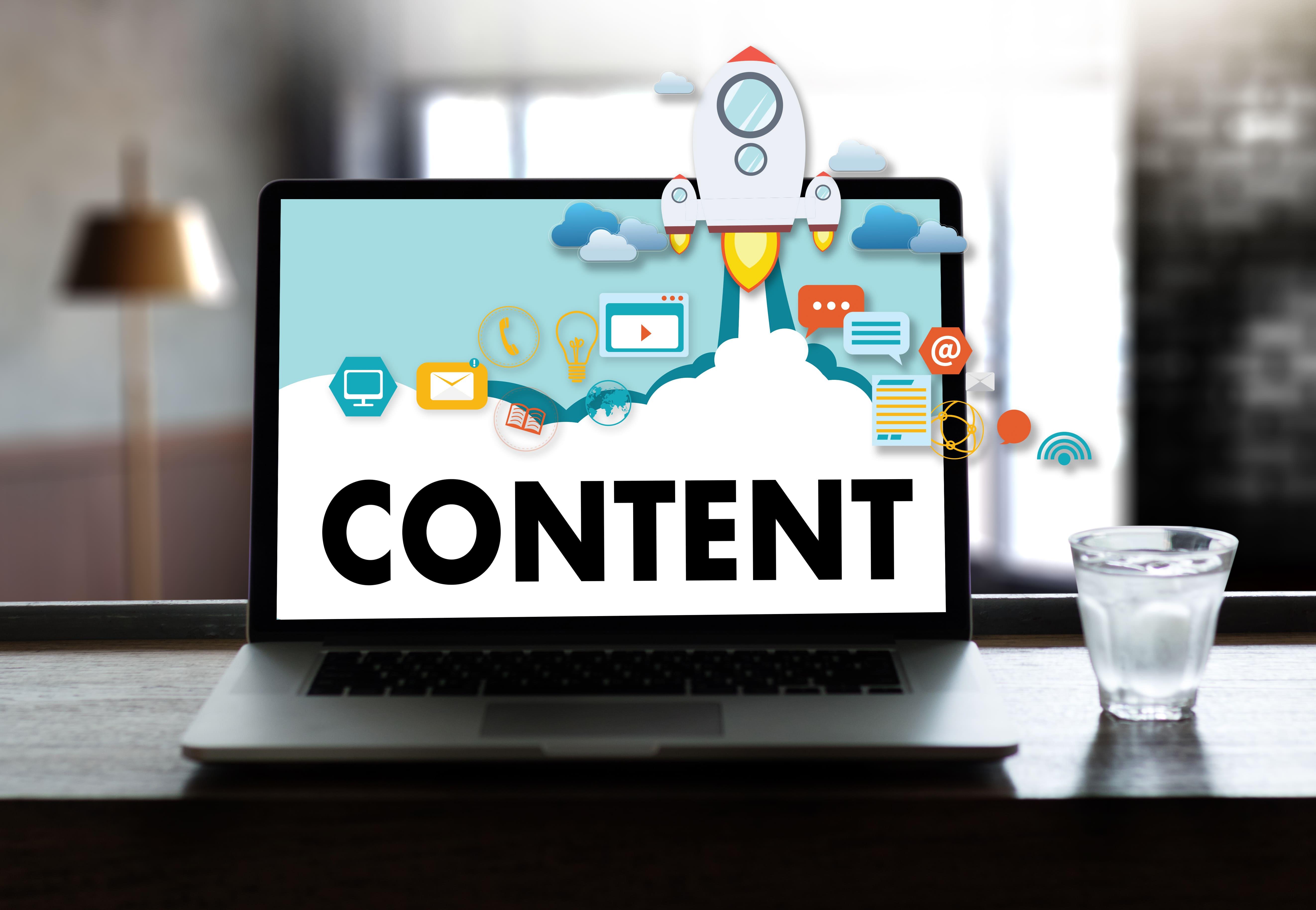 Imagem de um computador com a palavra conteúdo para remeter a matéria de marketing de conteúdo para o seu escritório contábil