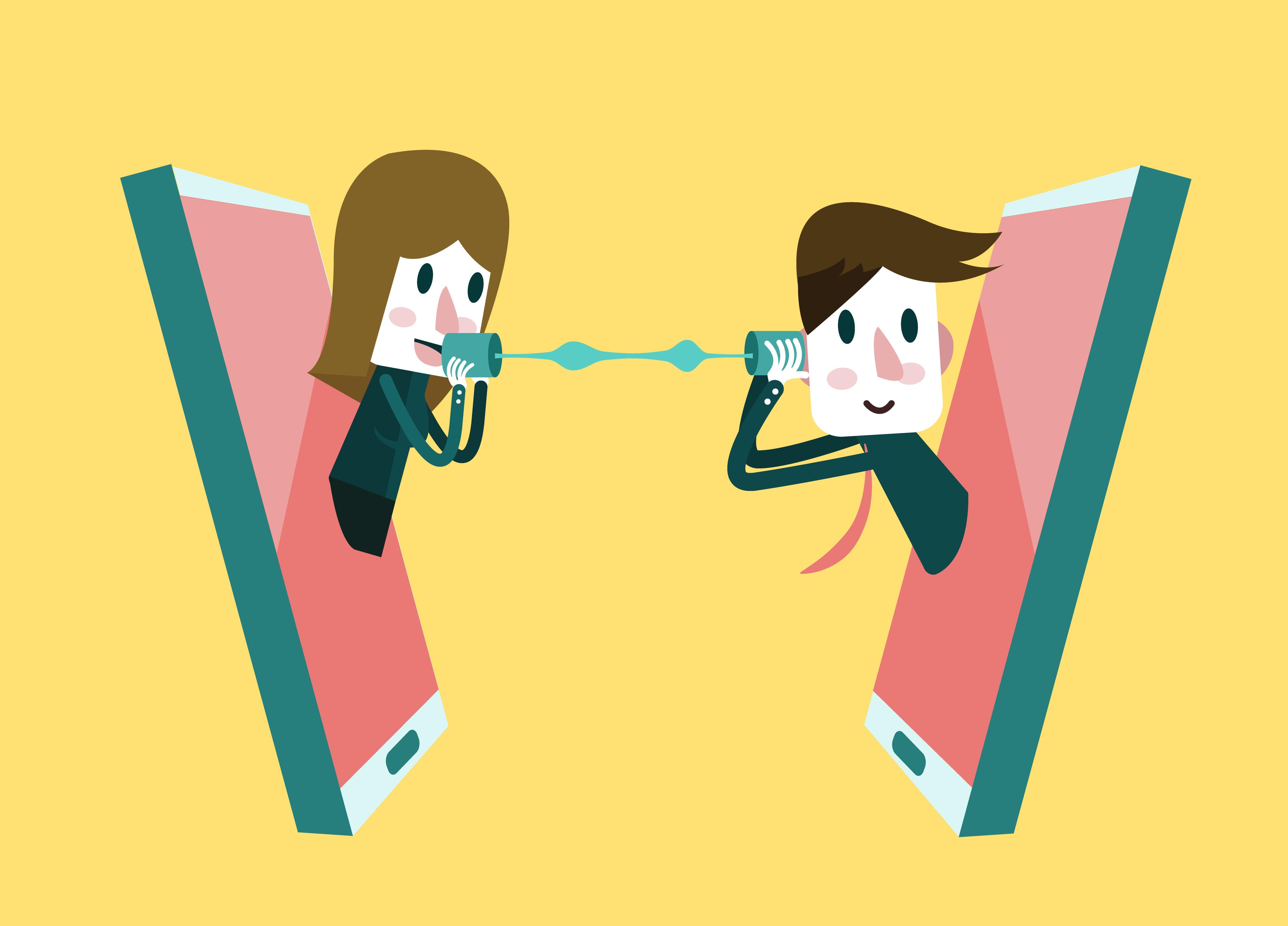 Imagem de duas pessoas conversando através das redes sociais para remeter a estratégia de Social Listening