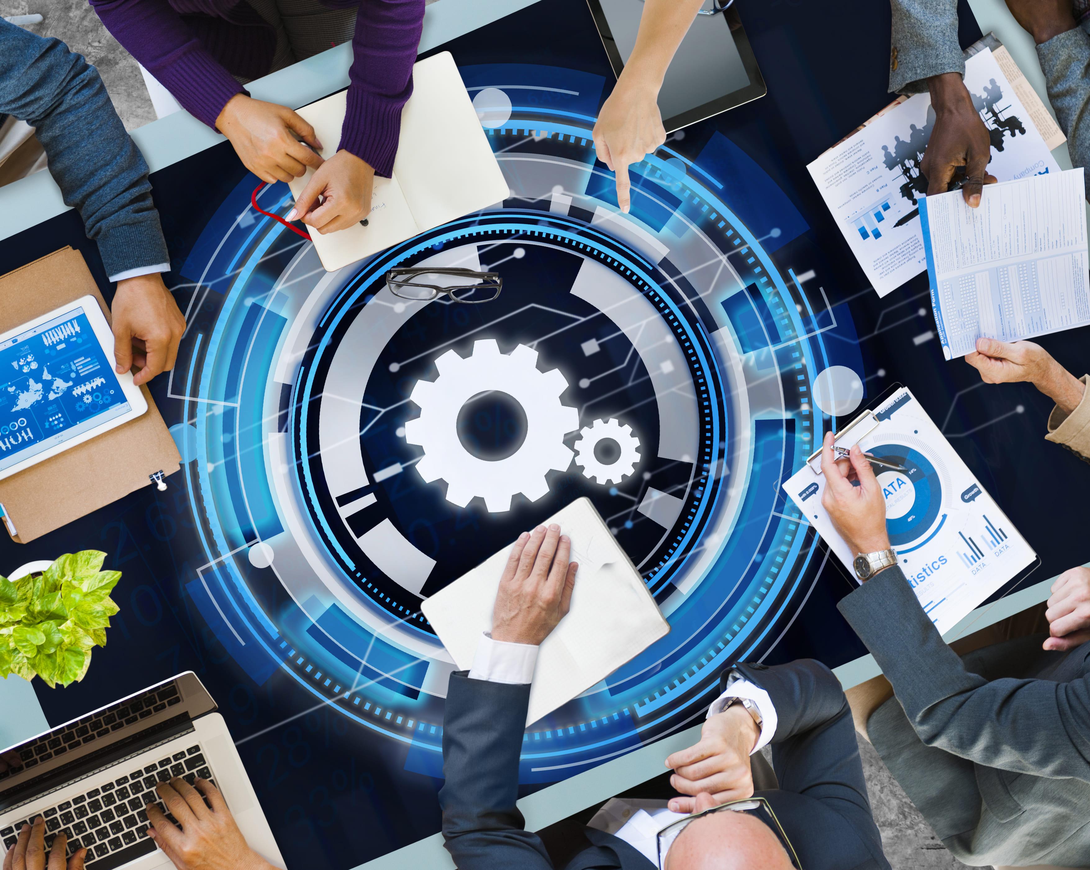 Imagem que representa todos os setores de uma empresa integrados por um sistema de automação empresarial