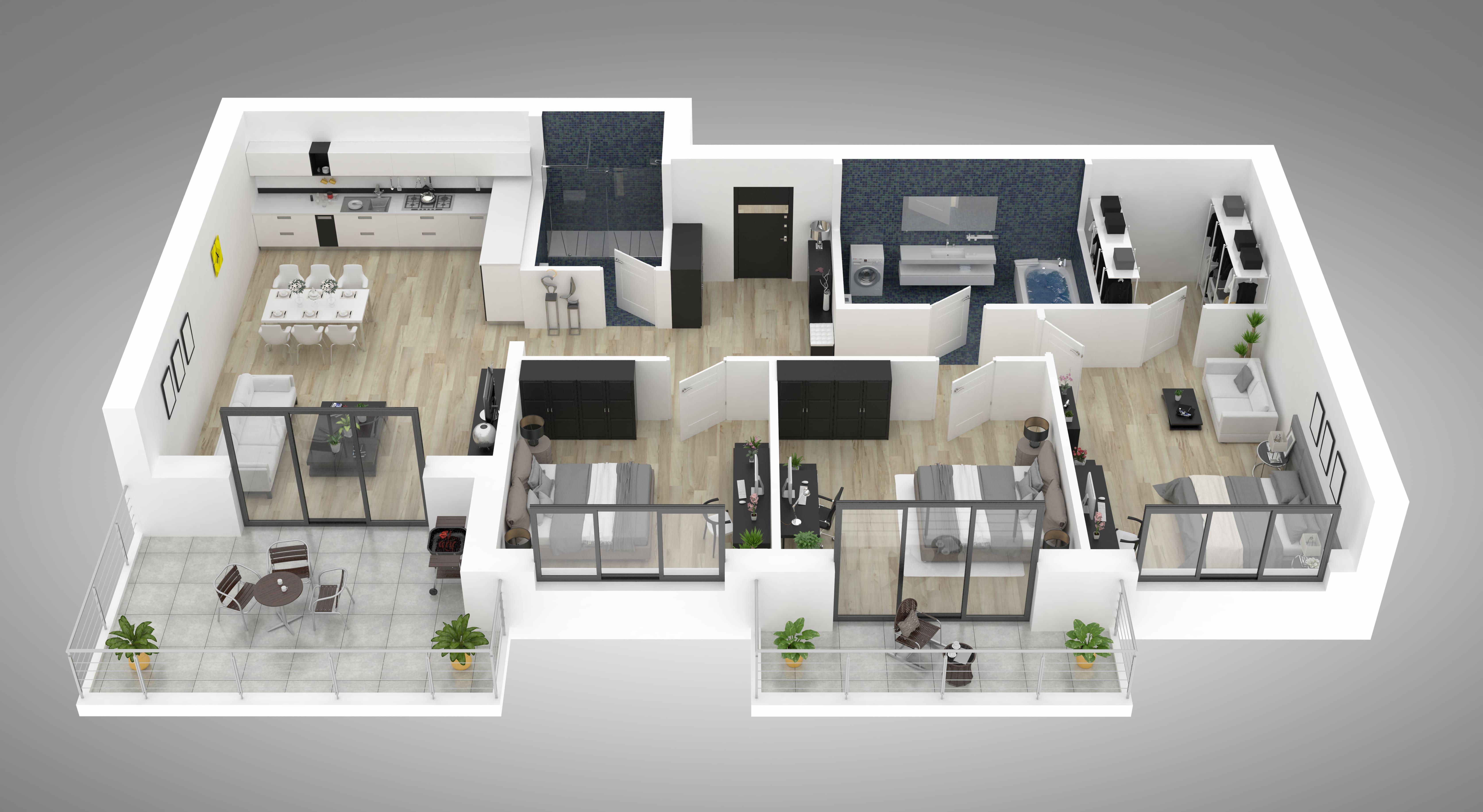 Imagem de um mockup de um apartamento com móveis para remeter ao empreendedor que deseja abrir uma loja de móveis planejados