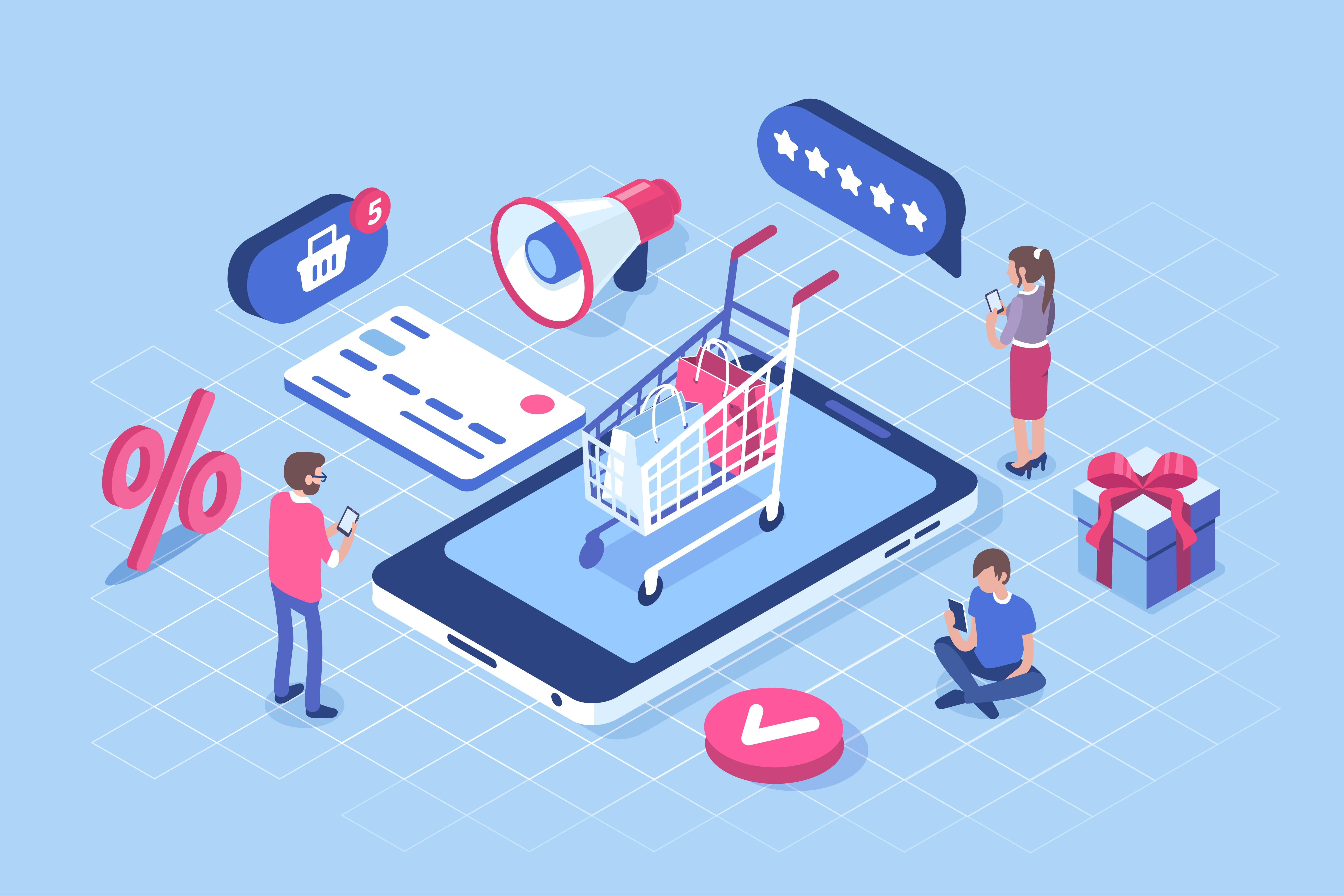 Imagem de um carrinho de compras em cima de um celular para remeter ao m-commerce