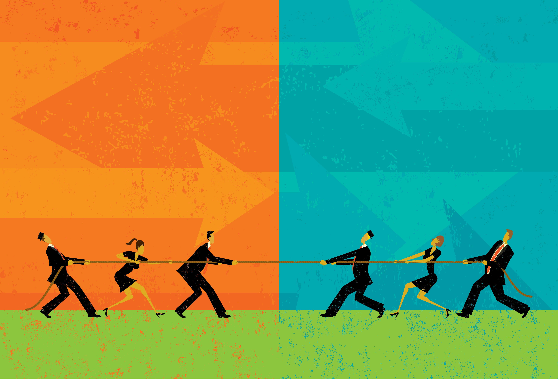 Imagem de alguns colaboradores que estão brigando para remeter a gestão de conflitos organizacionais