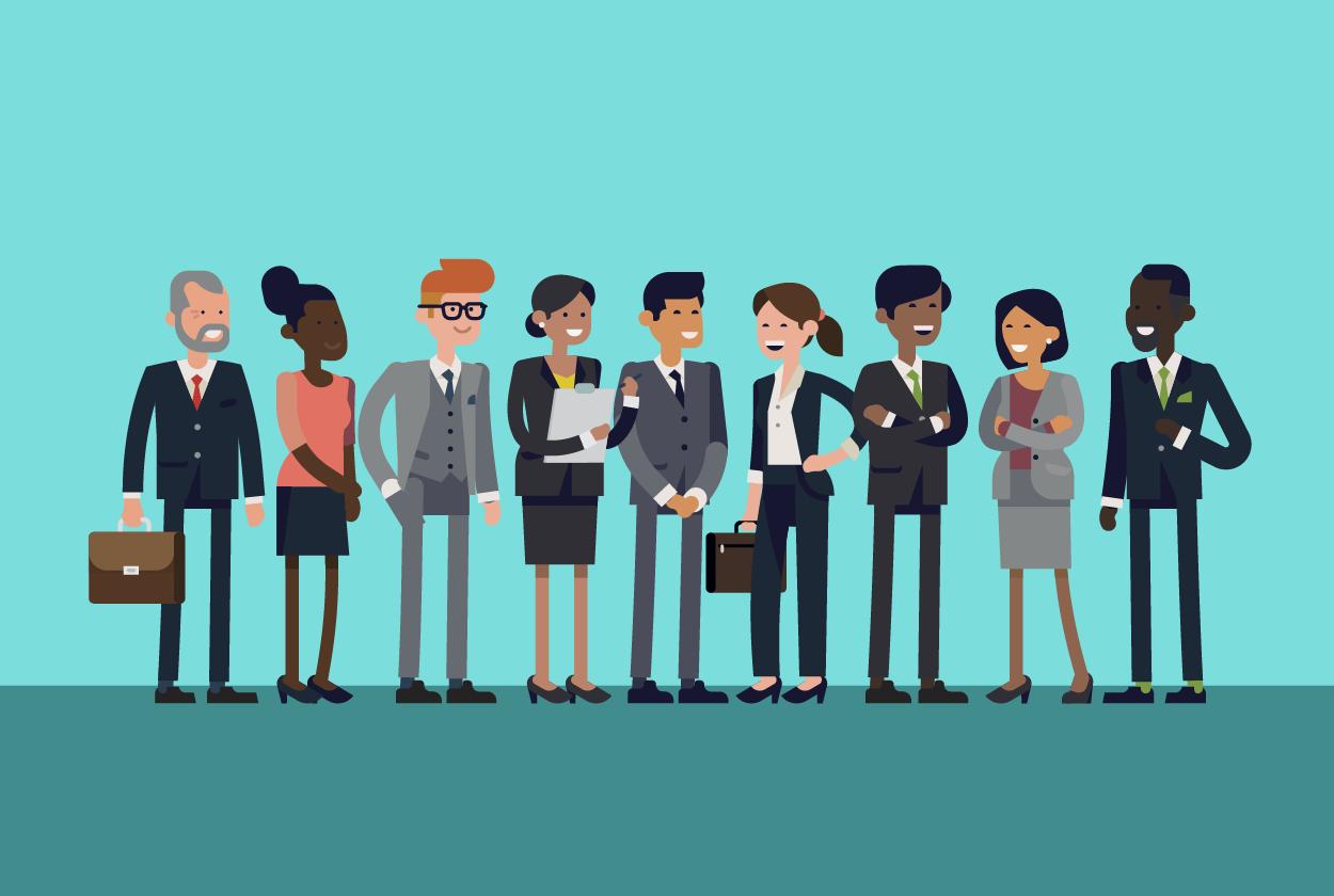 ilustração de pessoas representando o perfil empreendedor