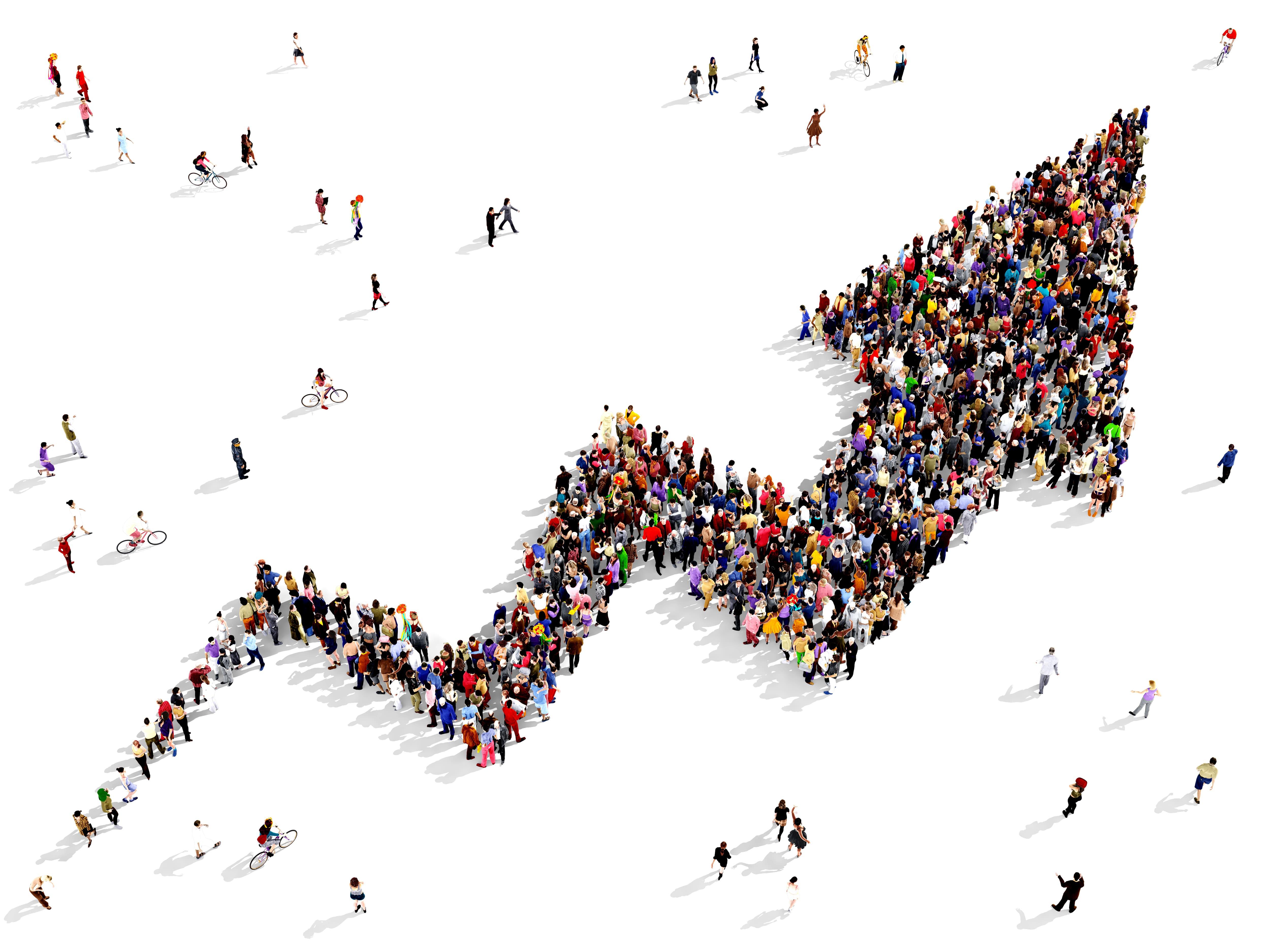 Imagem de uma flecha cheia de pessoas para remeter a cultura de crescimento