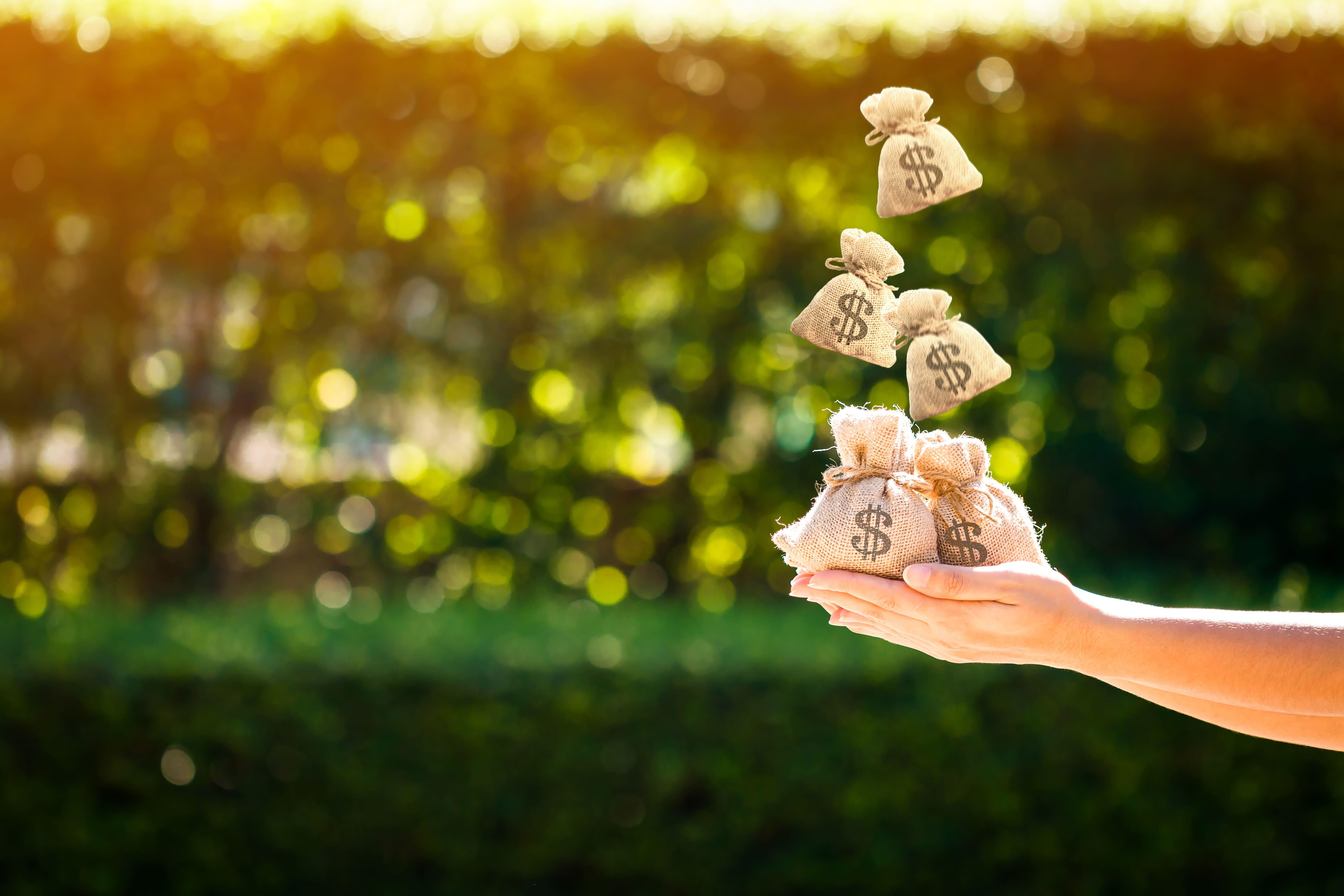 Imagem de alguns sacos de dinheiro para remeter a como fazer o salário render mais