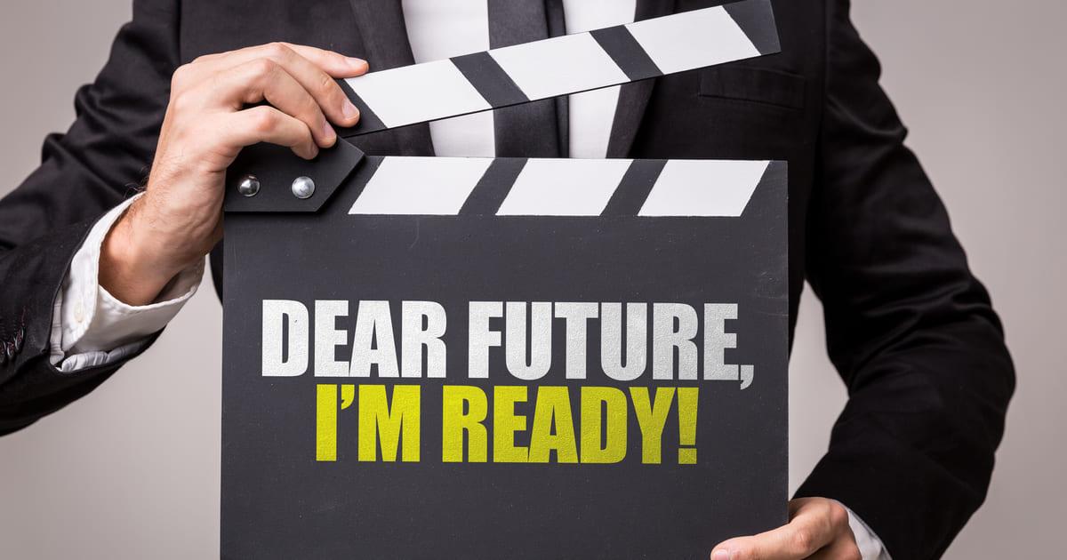Imagem que está escrito em inglês querido futuro, estou preparado para remeter as matérias para empreendedores