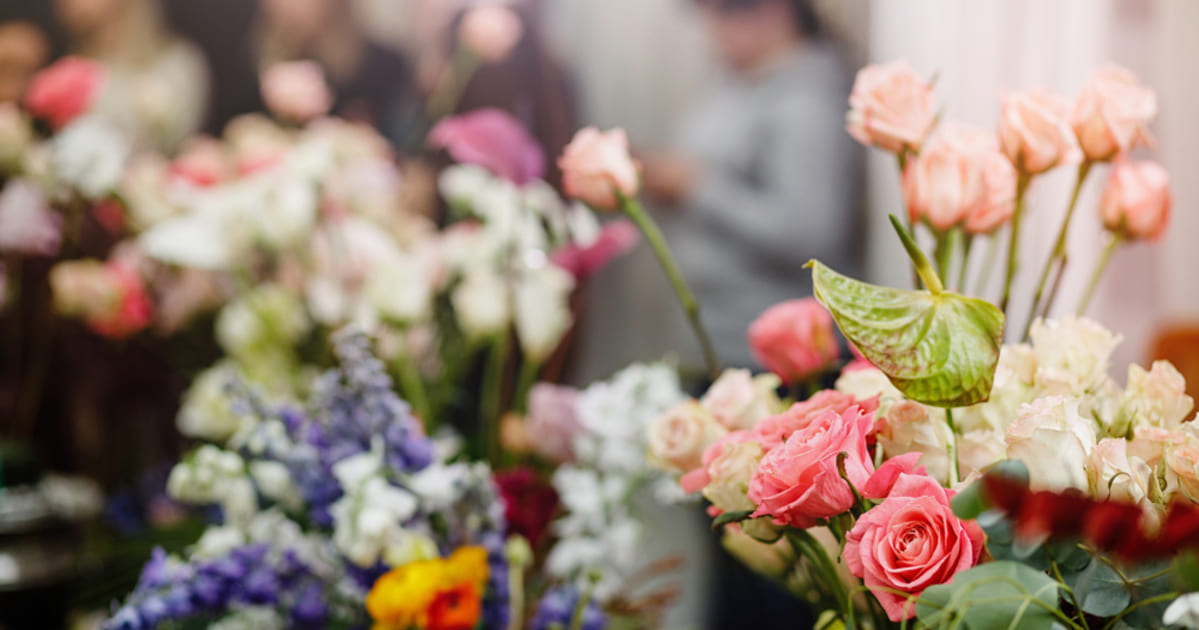 Imagem de flores dentro de uma floricultura, representando a contabilidade para floriculturas