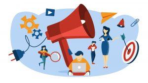 ilustração de formas de divulgação do outbound marketing para contadores