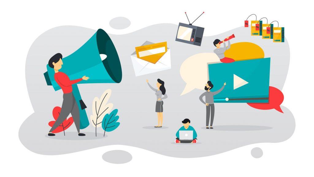 ilustração de pessoas e estratégias de outbound marketing para contadores